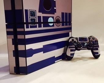 R2D2 STAR WARS Skin Sticker Vinyl Decal Cover PlayStation PS4 Console+Controller
