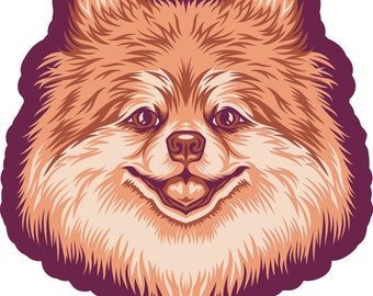Pomeranian Burgundy Die Cut Sticker GD210