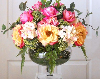 Faux Floral Arrangement -Fall Flowers Arrangement- Flower Arrangement --Silk Flowers in Home Decor