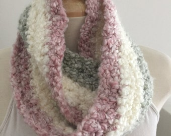 TrIcolor Soft Crocheted Infinity Scarf