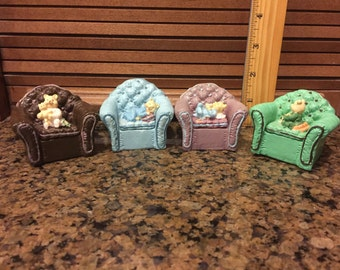 Ceramic Chair Trinket Boxes with little bears in them