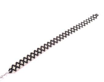 Bracelet end ground diamond / pearls silver black miyuki / weaving peyote.