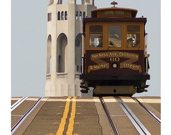 California street car with Coit Tower