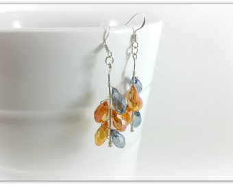 Crystal faceted and Silver earrings massif