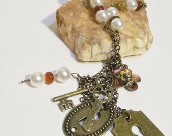 Secret Garden Inspired Necklace, Beaded Necklace, Floral