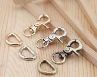 Antique Vintage Small Lobster Clasp and D-ring (1 pcs of Lobster Clasp and 1 pcs of D-ring), 10 Sets,
