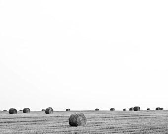 Fields Digital Photo - Fields Photo - Hay Bales - Minimalist - Black White Wall Art - Digital Photo - Digital Download - Instant Download