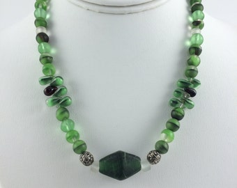 Frosted Green Glass Beaded Necklace, 16 inches