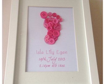 Baby Button Foot Print / New Baby Gift