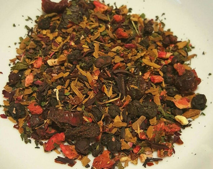 Featured listing image: Love is... - Organic Tea, Loose Leaf Tea, Berry Tea, Strawberry, Nettle, Cinnamon, Hibiscus, Cranberry, Schisandra, Rosehips, Herbal Tea