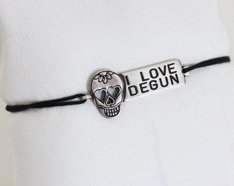 "Bracelet ""I LOVE DEGUN"" Silver 925 & cord thread of jade"