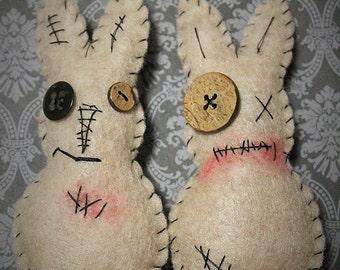 Zombie Easter bunnies-Voodoo rabbits-Handmade felt easter bunnies-Ugly bunnies-Primitive easter rabbits-Grungy bunnies-Bunny ornaments