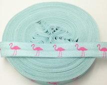 "5 yards Aqua FOE Hot Pink flamingo Printed FOE, 5/8"" Fold over elastic Hair tie, Baby elastic Headband,Dye Sublimation Elastic,"