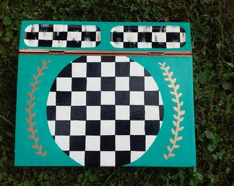 Hand Painted Whimsical Stationery Box Black and White Checks!!!