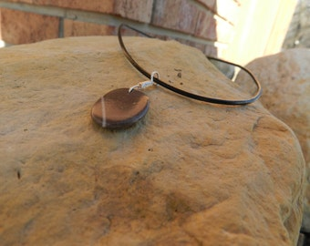 Rock Necklace with a White Line, Beach Stone Necklace