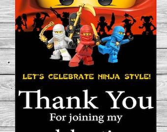 Instant DL Ninjago thank you card- Ninjago party, Ninjago invitation,Printable Tags