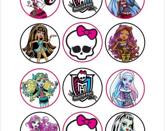 Edible Monster High Cupcake Cookie Toppers