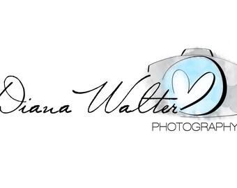 Camera Logo, watercolor Photography Logo, Custom Logo, Premade Logo, Custom Watermark, Premade Branding, Photography Logo Design