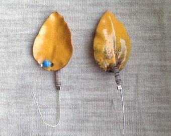 Yellow Leaves Dangle Earrings