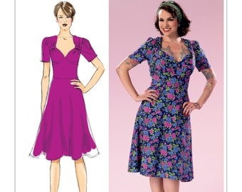 Sewing Pattern for Misses' Sweeheart-Neckline Dress with Gathered Bodice, Butterick Pattern 6380, Dress Pattern  by Gertie