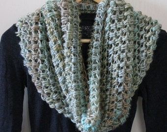 Chunky soft Neutral Color Handmade Crochet Infinity Circle Loop Scarf Cowl