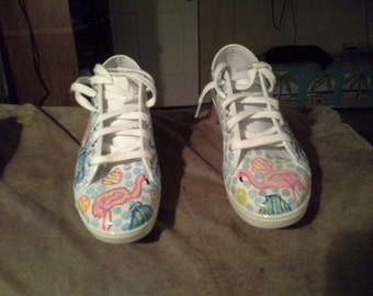 Hand Painted flamingo shoes