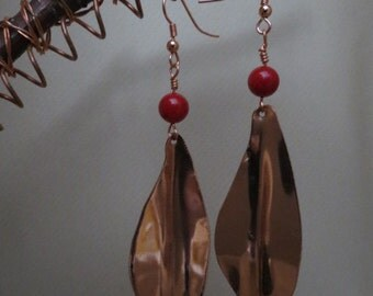 Copper Red Bead Earrings