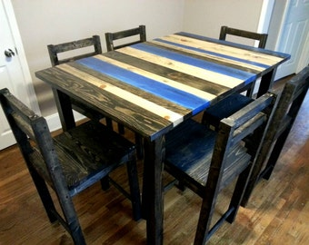 Rustic counter height dining room set / Rustic dining room table / Reclaimed counter height dining room set
