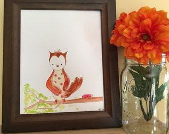 Owl Nursery Art, Baby Shower Gift, Baby Nursery Print, Woodland Nursery decor, Baby Boy Gift, Baby Girl Gift, Handmade Watercolor Print