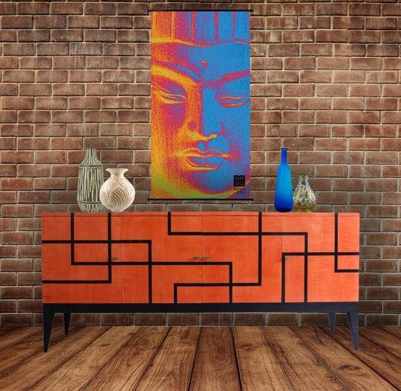 Framelessoil Paintings Canvas Colorful Buddha Sitting Wall: Kakémono Poster Buddha Poster Buddha Art By KhmerRoadSculpture