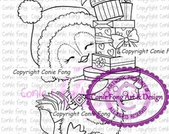Digital Stamp, Digi Stamp, Snowy Delivering Presents by Conie Fong, Penguin, valentines, birthday, Christmas, coloring page, love