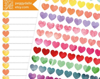 Watercolour Heart Shape Mini Icons Planner Stickers | Neutral | Checklist | Bullet Journal Stickers