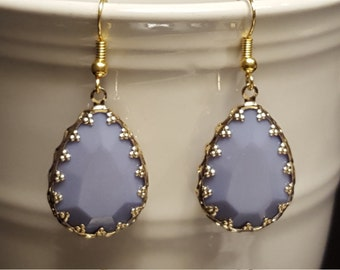 Stunning Periwinkle Tear-drops with Gold Edging