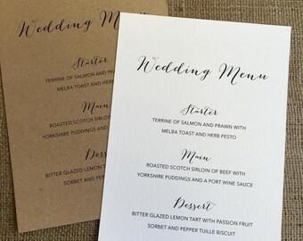 A5 Wedding Menu Card Personalised Menus Wedding Reception 7004