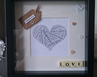 Wedding Gift - Black/White Mounted Word Art Frame With Scrabble Letters and Embellishments