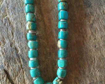 Real Turquoise necklace with shells at top.