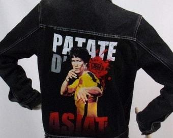 Pattern black denim jacket Bruce Lee