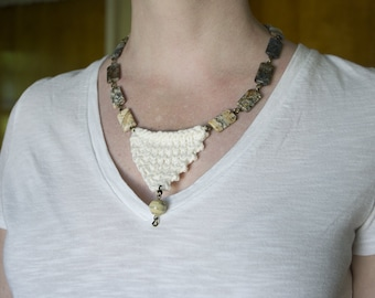 Natural stone bead necklace with knitted bib