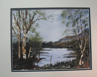 "OLD  DUCKPOND, small LAKE, Originial Watercolor By C.M.Andersom  (10x13"")"