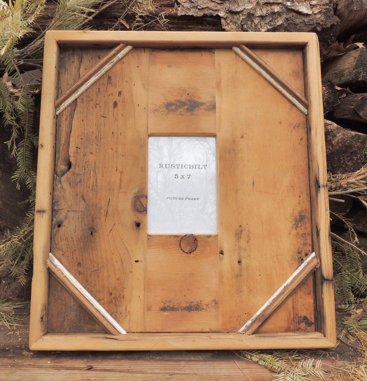 5x7 reclaimed wood picture frame rustic home frames barn. Black Bedroom Furniture Sets. Home Design Ideas