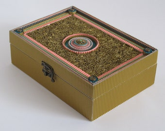 Decorated wooden box with blue/pink mandala. Covered with golden corrugated cardboard. mail box.