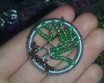 Tree of Life Beaded and Wire Pendant