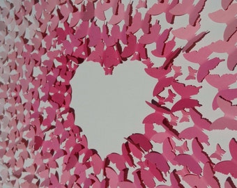 Butterfly Wall Art, Pink Ombre', 3D, Heart Negative Space on Canvas