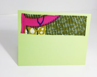 Watermelon Print Greeting Card // Pink and Green Blank Cards with Envelopes // African Print Greeting Card // Blank Card with Envelope