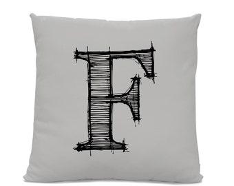 Initial Pillow - Letter Pillow - Pillow with Letter F - Monogrammed Pillow - Custom Throw Pillow