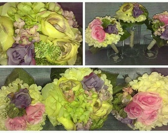 Set of three Bridal bouquet and matching bridesmaids bouquets