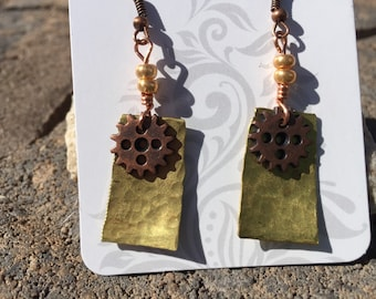 Hand made hand pined brass and gear earrings with brass beads