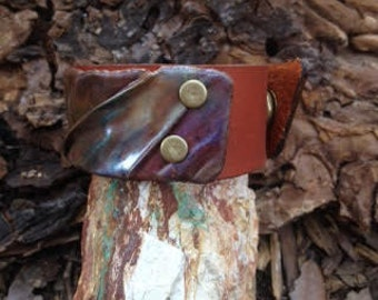"""Fold form copper """"Fabric"""" cuff on leather"""