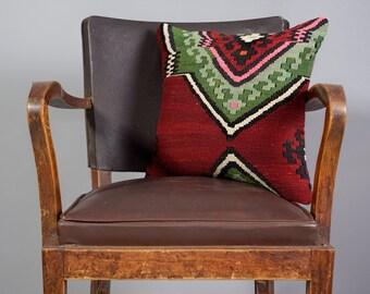 Turkish kilim pillow, Decorative pillow, Vintage home decor, Cushion cover,Area pillow,Boho pillow, Kilim rug pillow,16x16 inches, 40x40 cm
