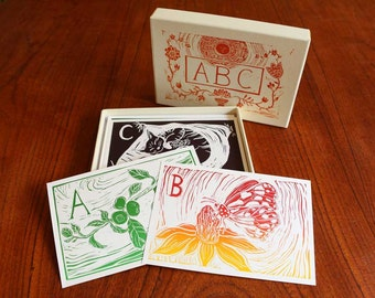 ABC box set, hand printed